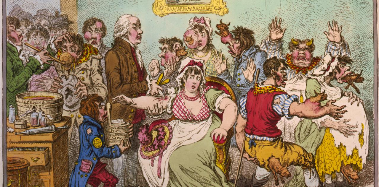 Karikatuur op de koepokken inenting