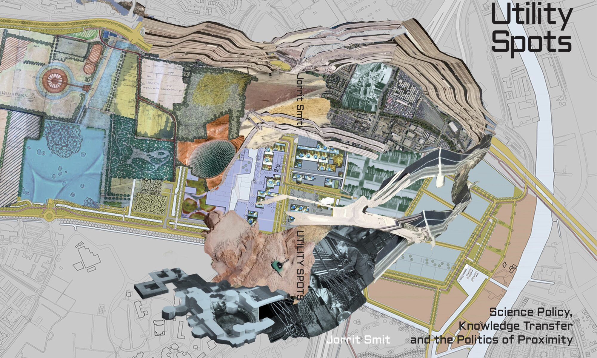 Utility Spots book cover showing artistic map of a campus