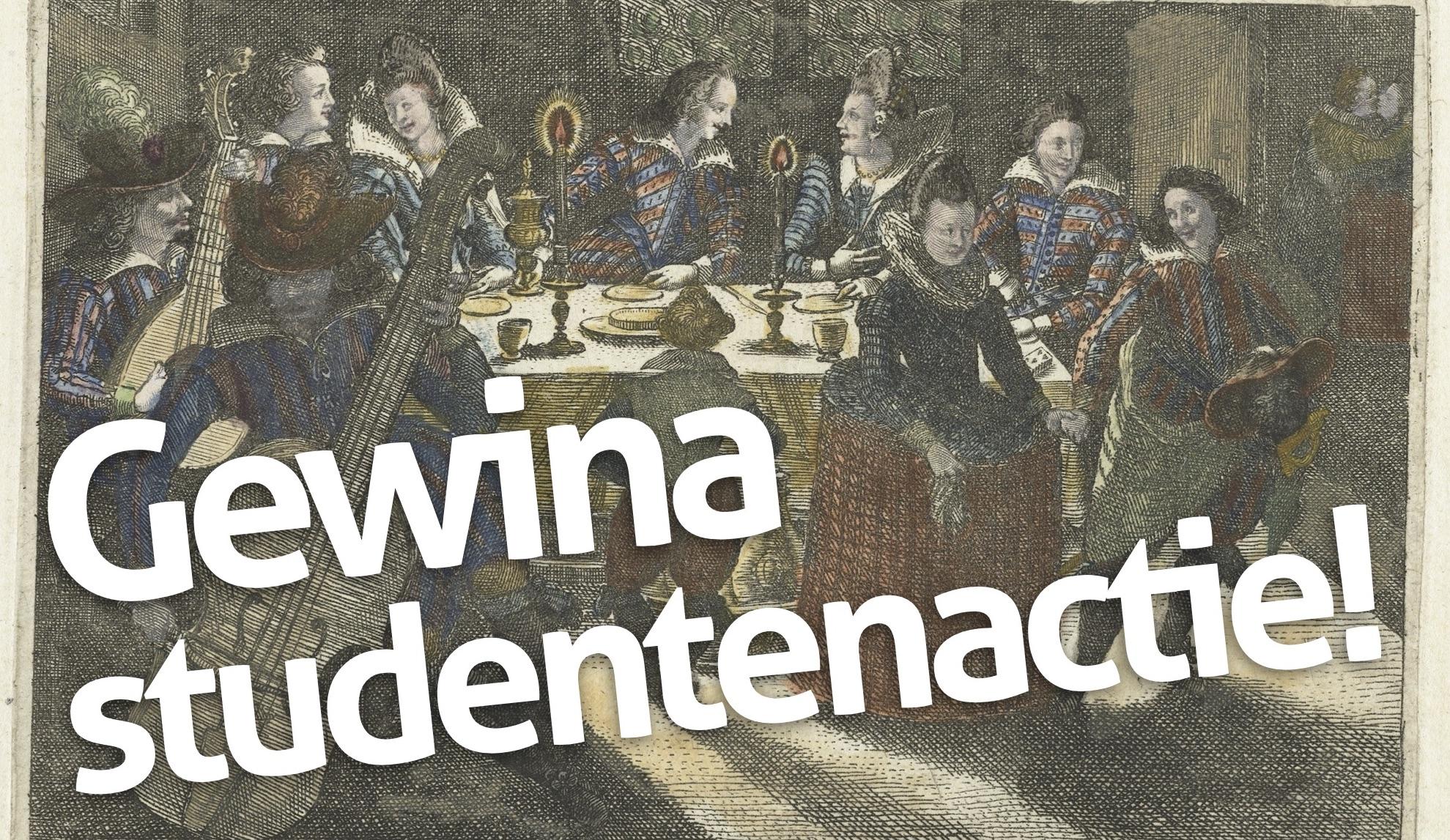 Studentenactie met 17e eeuwse afbeelding van dinerende en dansende studenten